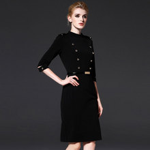 Kongshion solid black half sleeve vestidos beautiful office dress women straight dresses 16195