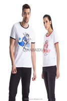 oem men cotton fashion printed cotton couple tshirts for lovers