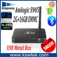 Factory direct sale x98 With KODI 16.0 tv box Metal case smart tv box