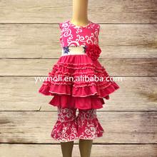 2017 baby clothes knit cotton pink flower sleeveless ruffle dress match ruffle capris smocked children clothing wholesale