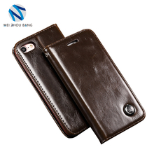 genuine leather wallet credit card stand phone cover case for iPhone 6 7plus