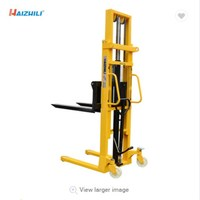 HaizhiLi Handling Equipment Factory Hot sale 2000kg 2.5m small manual stacker forklift, double mast hand stacker for warehouse