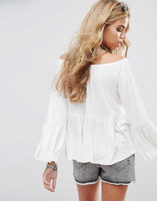 China Product Women Fashion Small Quantity Boohoo Bardot Frill Top Off Shoulder
