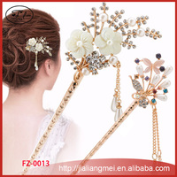 2017 new hair jewelry flowers butterfly peacock pearl rhinestone gold hairpin manufacturers wholesale