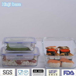 High borosilicate glass airtight insulated large lunch box containers