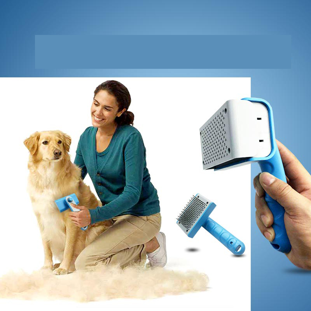 Stainless steel ABS TPR dog brush pet grooming brush automatic hair remover comb pet grooming brush