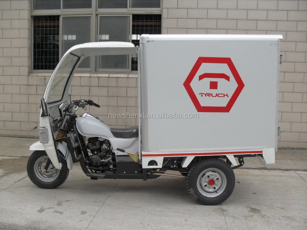 Big Power Front Cabin Three Wheel Cargo Tricycle With Sealed Box On Sale