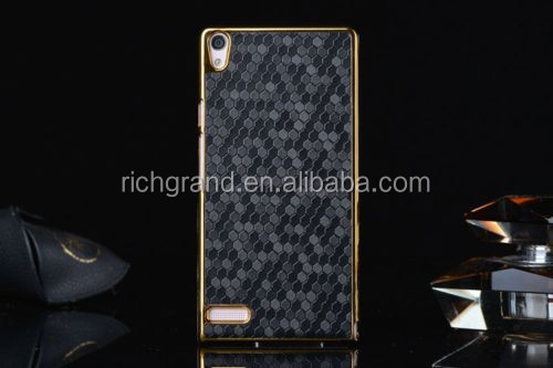 Luxury design gold leather hard skin case cover for Huawei ascend P6 black