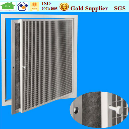 Eggcrate grille for central air condition system with hinged filter in HVAC