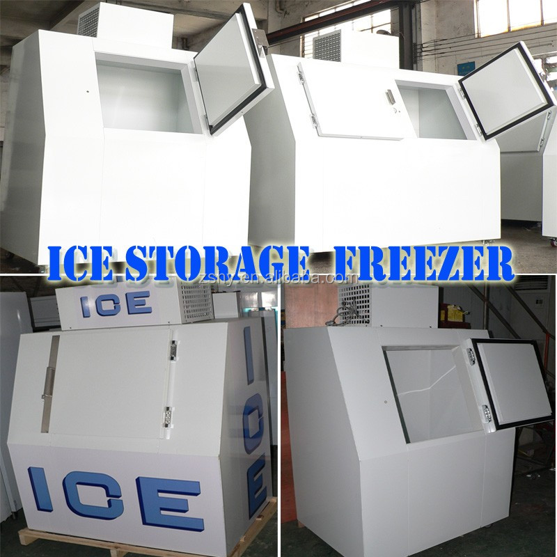 380L outdoor bagged ice storage bin with slant door