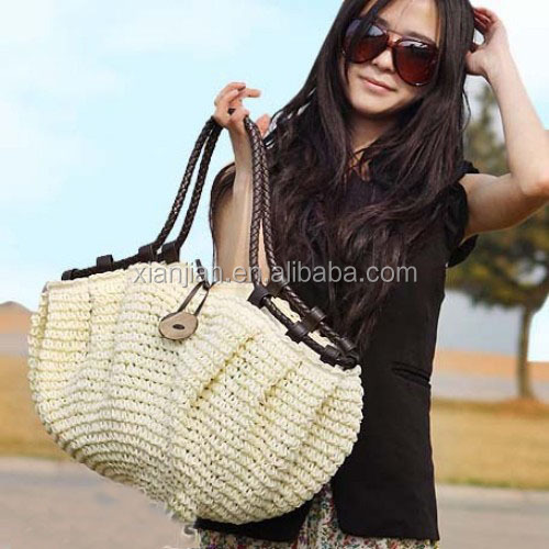 Celebrity Coconut Button Straw Crochet Bucket Tote Bags (LCHHB113)