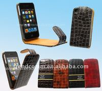 Flip crocodile leather case for iphone 4