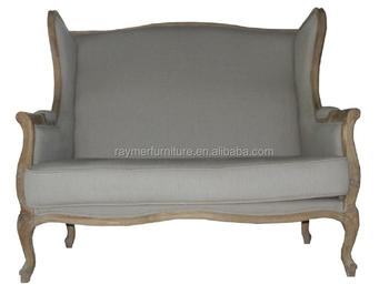 Vintage Antique Solid Oak Frame Gray Linen Wing Back Upholstery Settee Sofa