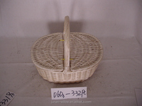 Wholesale hanging wicker storage basket with double lid