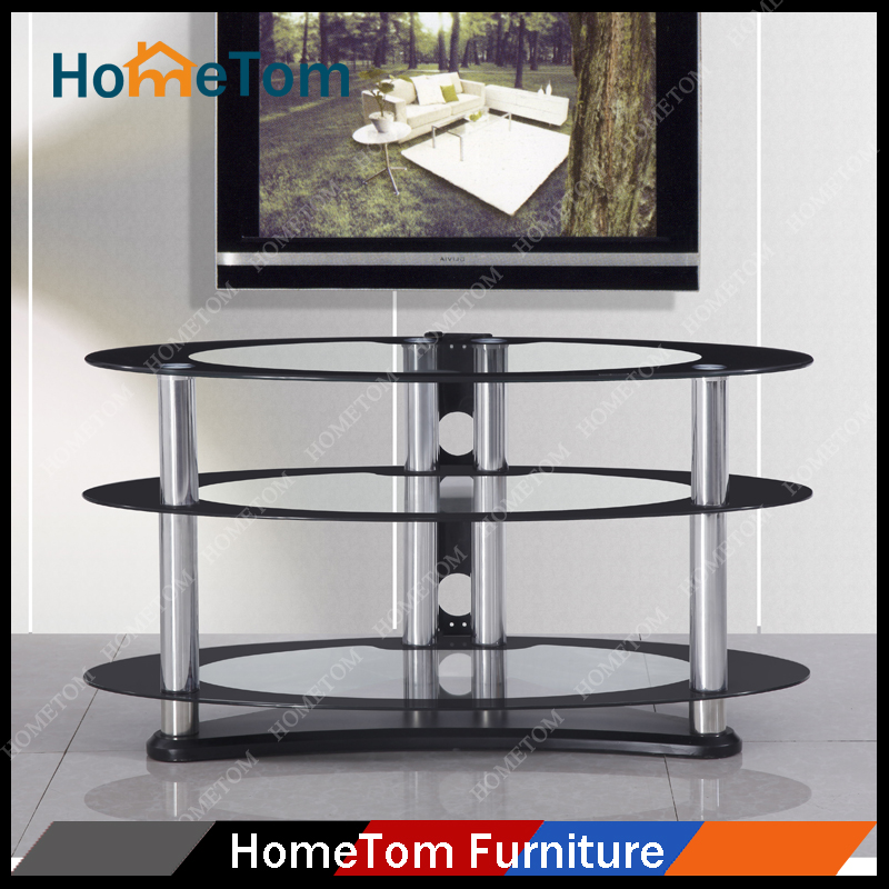 Latest Design Three Layers Glass LED TV Wall Unit