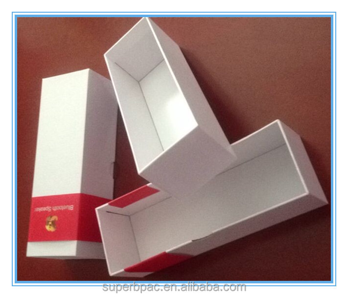 customized fancy paper Gift Rectangle packaging handmade Boxes with red special paper banner