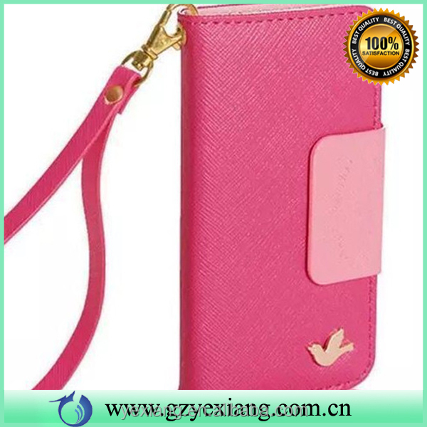 New arrival pu leather flip wallet case for iphone 5c leather case with credit card slot holder