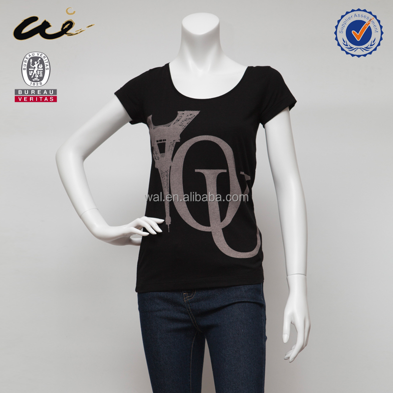 fashion top black color women t shirt;cap sleeve t shirt;cotton woman t shirt