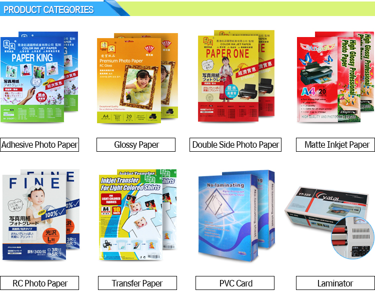 premium wholesale 4r sizes full color waterproof inkjet RC glossy smooth / satin matte resin coated photo paper from china