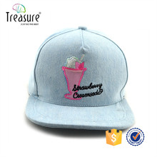 candy blue cotton snapback cap with cute embroidery logo and flex fit strap back