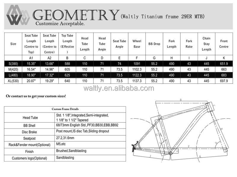 Latest design downhill titanium bike frame on market