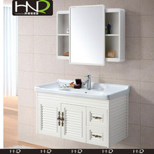Wall Hung Modern Glossy White Pvc Bathroom Cabinet with sliding door mirror cabin