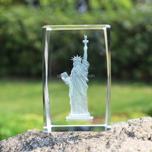 k9 crystalclear glass cube ornament Paperweight Statue of Liberty cut crystal 3d laser engraving acrylic Cube