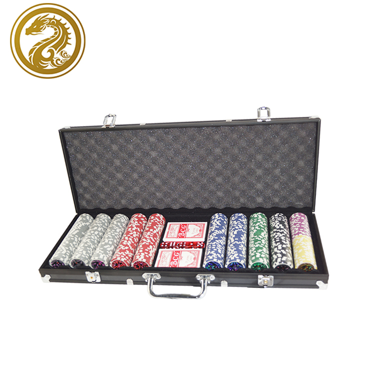 Hot! 500 chips Onderhandelen Poker Set poker chip set, custom poker chips Set met Aluminium Case