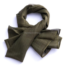 Super made in China factory Lebanon army polyester mesh net hole bandelet neckerchief wraps plain solid men military scarf