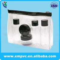 Clear PVC Black Zippered Toiletry Bag Beauty Cosmetics