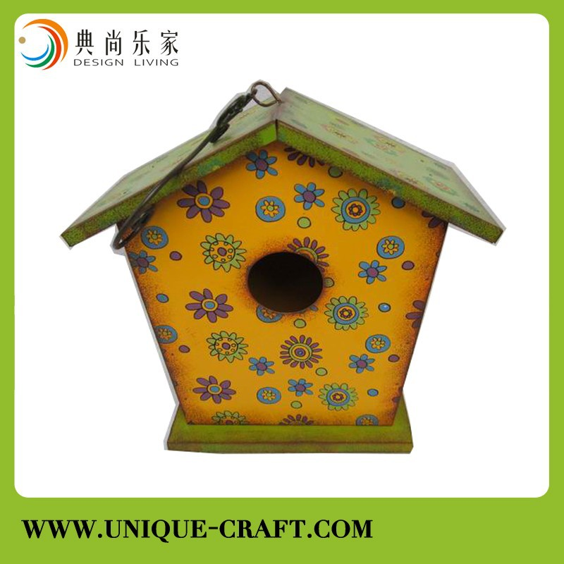New finished flower painted metal bird house wholesale