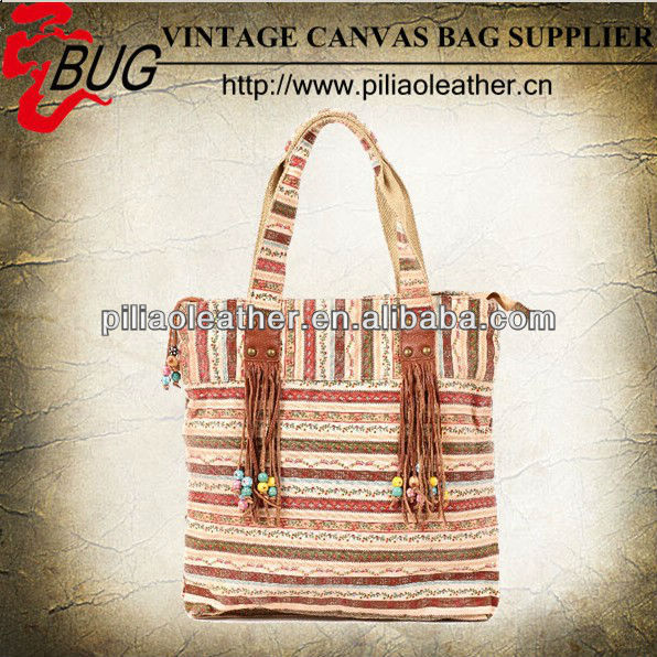 2014 new design Tobey New Fashion Stripe Design Women Street Snap Candid Tote Single Shoulder Canvas Bag Handbag