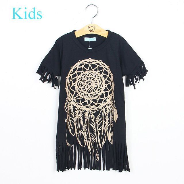 Girls Dress new spring summer style children's clothing personality style casual baby black wild fringed dress 1-5Y