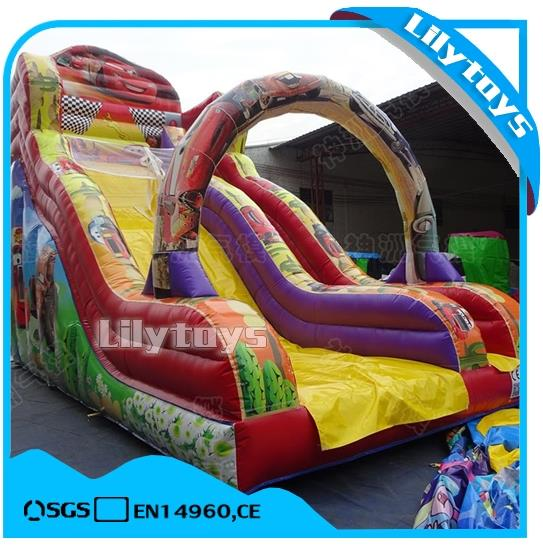 lilytoys cheap land cartoon Game characters Square slide outdoor inflatable bouncer castle with slide for sale