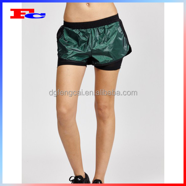 OEM China Sports Wear Supplier Woven Spandex 2 Piece Custom Running Shorts Running Tights