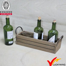 Old Fashioned 3 bottle Wooden wine crate for sale