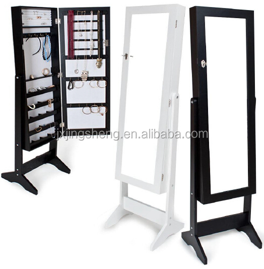 Floor standing wood cheap multifunctional jewelry cabinet with mirror set