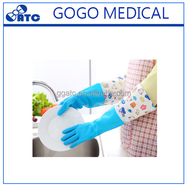 High quality yellow latex long cuff household working rubber gloves/ dishwashing gloves
