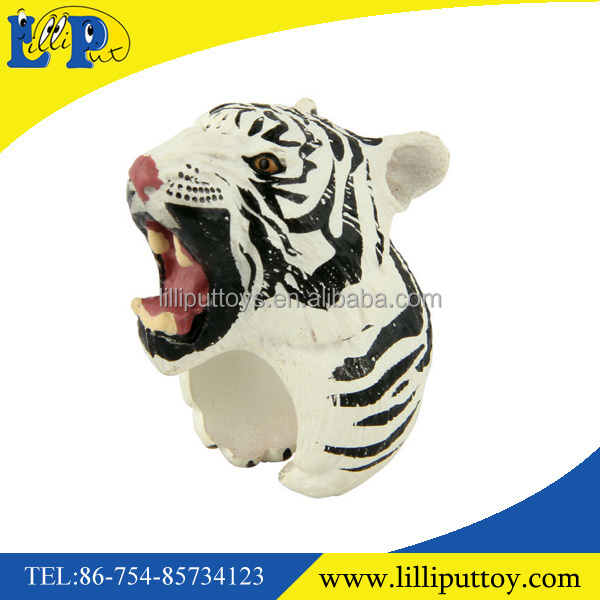 Exclusive hand painted toy animal ring for kids White tiger figure