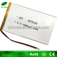 high capacity li-ion polymer battery pack 3.7v 6000mah power bank battery 6270120