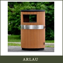 Arlau wood and metal dustbin,wood craft trash can,wood garbage bins