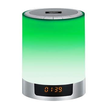 Touch lamp smart led music mini portable speakerBlutooth speaker made in China colorful light time display hands free call