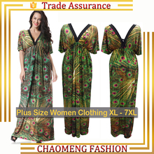 6029# Latest Fashion 2017 Peacock Fat Ladies Floral Printed Summer Casual Maxi Bohemian Maternity Dress Plus Size Women Clothing