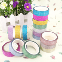 Candy Color Glitter masking Tapes Gold paper Decorative Adhesive Tape 15mm*3m Sticker Stationery