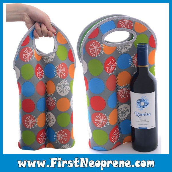 Insulated 2 Bottles Promotional Custom Neoprene Wine Carrier