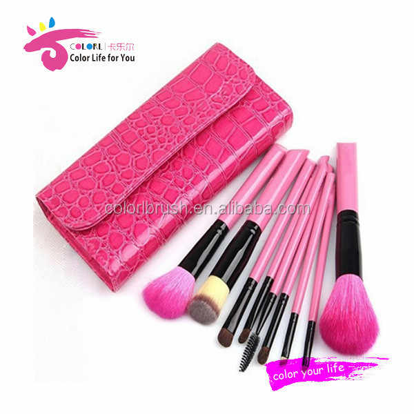 face charts in cosmetics 9pcs pink brush set with feminized case for woman
