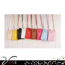 Women Girl Purse Woven Coin Cell Phone Case Mobile Bag Pouch Mini Shoulder Bag