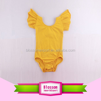 New Style Children Artistic Gymnastics Leotards Spandex Flutter Sleeve Mustard Yellow Ballet Dance Gymnastic Leotard Child