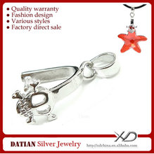 XD C654 Wholesale 925 Sterling Silver Skull Clasps with CZ Stones