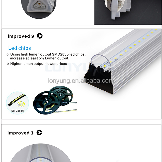 LONYUNG patent design Top selling T8 integrated tube, New Arrival!!